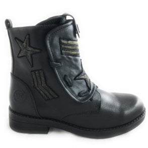 2-25247 Womens Black Military Boot