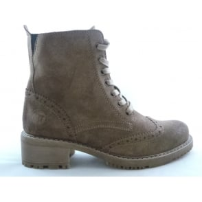 2/25262/29 Letta Light Brown Suede Brogue Ankle Boot
