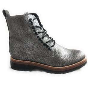 2-25265 Pewter Metallic Lace-Up Ankle Boot