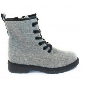 2-25267 Grey Merino Wool Lace-Up Ankle Boot