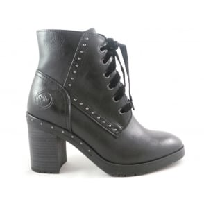 2/25269/39 Rigali Black Faux Leather Lace-Up Ankle Boot