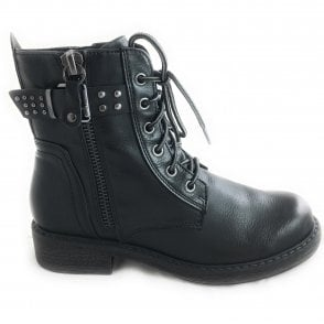 2-25279  Womens Black Biker Boot