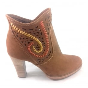 2/25313/28 Miano Tan Faux Suede Ankle Boot