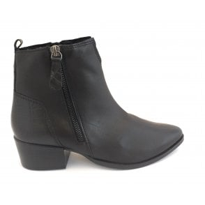 2-25323 Black Leather Ankle Boot