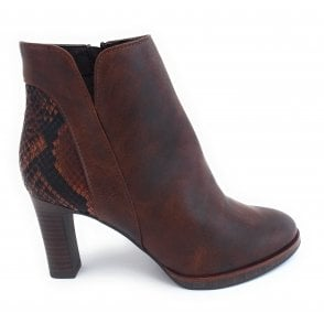 2-25330 Brown Faux Leather Ankle Boot