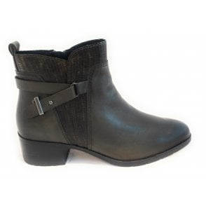 2-25334 Roby Olive Green Leather Ankle Boots