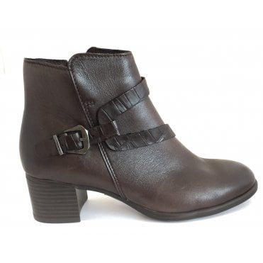 2-25336 Brown Leather Heeled Ankle Boot