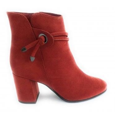 2-25343 Orange Faux Suede Ankle Boot