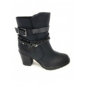 2-25344 Womens Dark Navy Heeled Ankle Boot