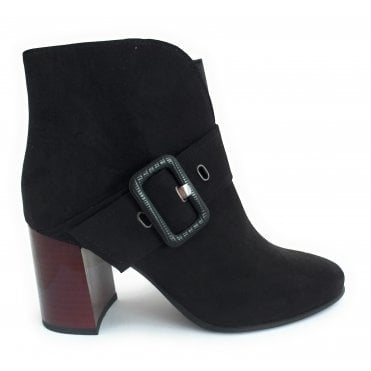 2-25356 Black Faux Suede Ankle Boot