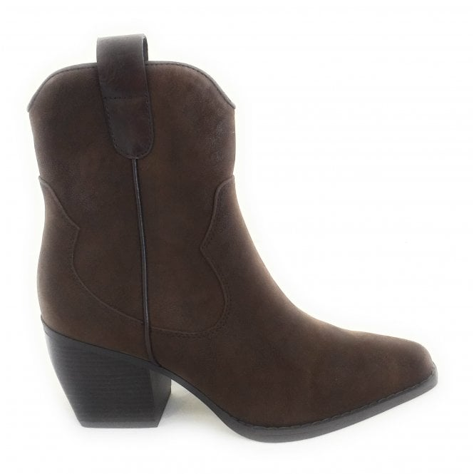 Marco Tozzi 2-25359 Marci Brown Faux Leather Cowboy Boots
