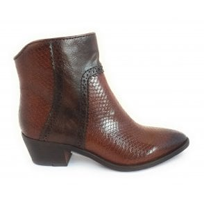 2-25381 Brown Faux Leather Reptile Print Ankle Boot