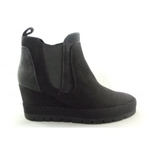 2/25401/39 Brenna Black Microfibre Wedge Ankle Boot