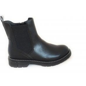 2-25404 Black Faux Leather Chelsea Boots