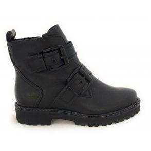 2-25407 Black Faux Leather Boots