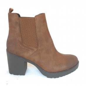 2-25414 Brown Heeled Chlesea Boots