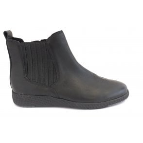 2-25415 Black Leather Ankle Boot