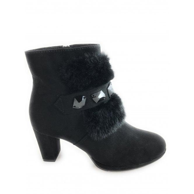 Marco Tozzi 2-25428 Black Faux Suede Fur Trim Boots