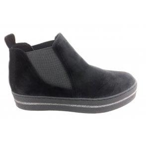 2-25430 Black Velvet Chelsea Boot