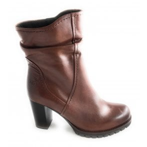 2-25436 Womens Tan Leather Ankle Boots