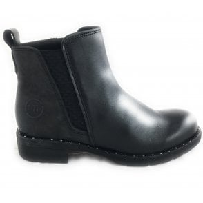 2-25437 Womens Black Leather Ankle Boot