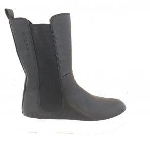 2-25443 Ago Black Mid Calf Chelsea Boots