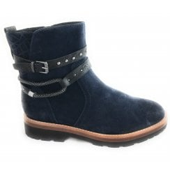 2-25449 Womens Navy Suede Ankle Boot