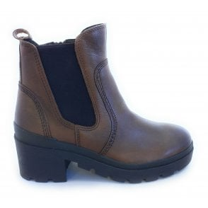2-25450 Light Brown Heeled Chelsea Boots