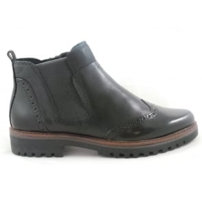 2/25453/29 Glera Black Leather Brogue Ankle Boot