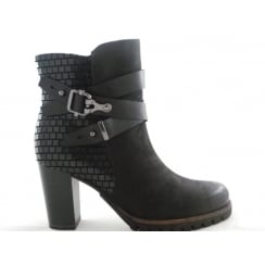 2/25459/39 Bulla Black Leather Ankle Boot