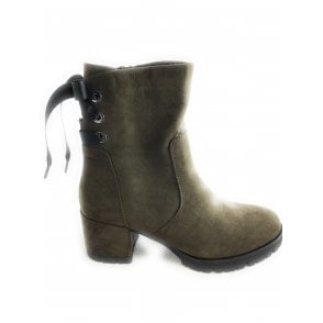2-25461 Olive Green Womens Ankle Boot