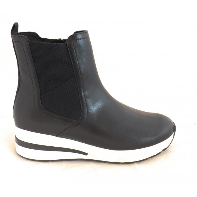 Marco Tozzi 2-25464 Wonati Black Faux Leather Wedge Boots