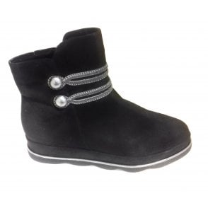 2-25466 Black Microfibre Ankle Boot