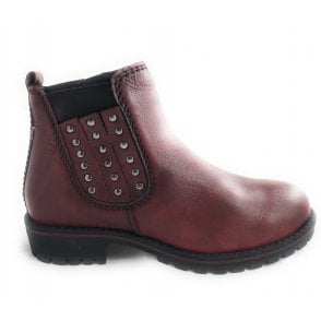 2-25480 Red Leather Ankle Boot