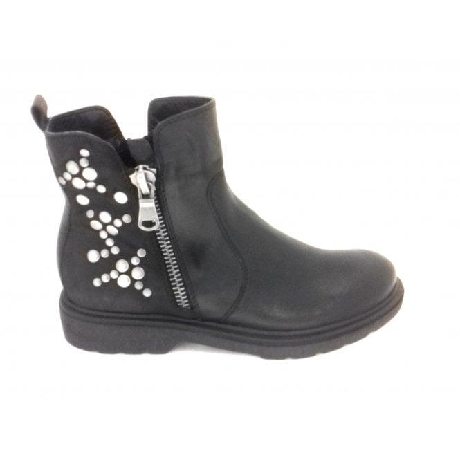 Marco Tozzi 2-25489 Black Leather Ankle Boot