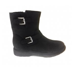 2-25490 Black Leather Ankle Boot