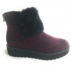 2-25499 Burgundy Suede Wedge Ankle Boot