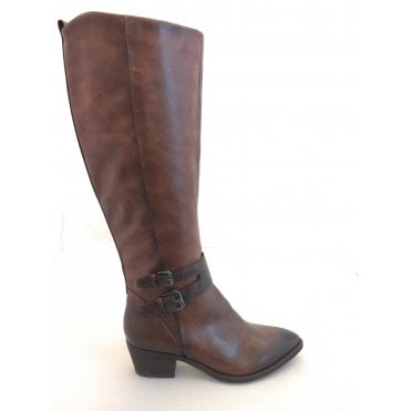 2-25501 Chestnut Brown Faux Leather Knee High Boots