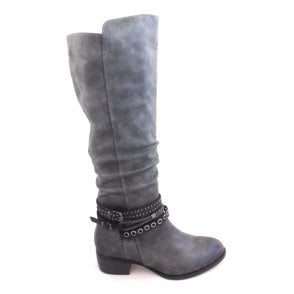 2-25507 Dark Grey Faux Leather Knee High Boot