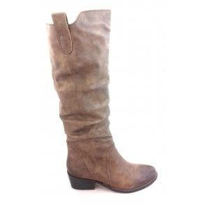 2-25508 Tan Faux Leather Knee High Boot