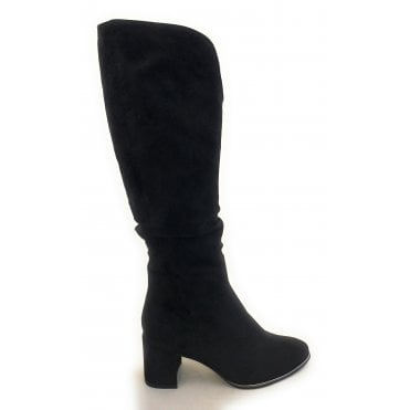 2-25516 Delo Black Faux Suede Knee High Boots