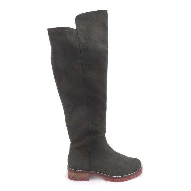 Marco Tozzi 2-25625 Khaki Faux Suede Knee High Boots