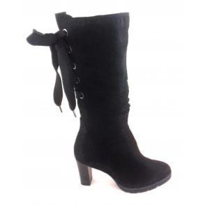 2-25640 Black Faux Suede Long Boot