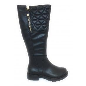 2-25652 Black Knee High Boots