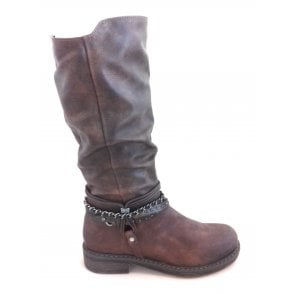 2-25662 Brown Faux Leather Knee High Boot