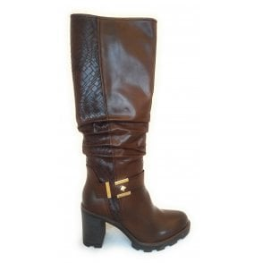 2-25666 Brown Knee High Boots