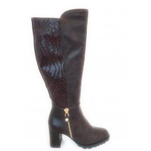 2-25694 Dark Brown Knee High Boots