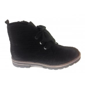 2-25701 Womens Black Lace-Up Ankle Boot