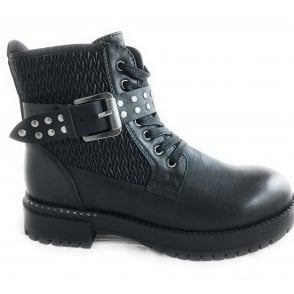2-25711 Black Lace-Up Biker Boot