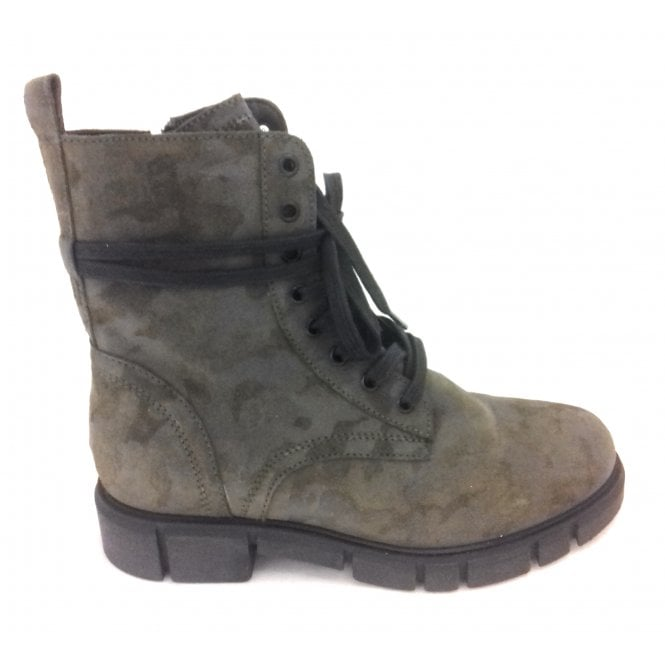 Marco Tozzi 2-25721 Olive Green Army Print Boots